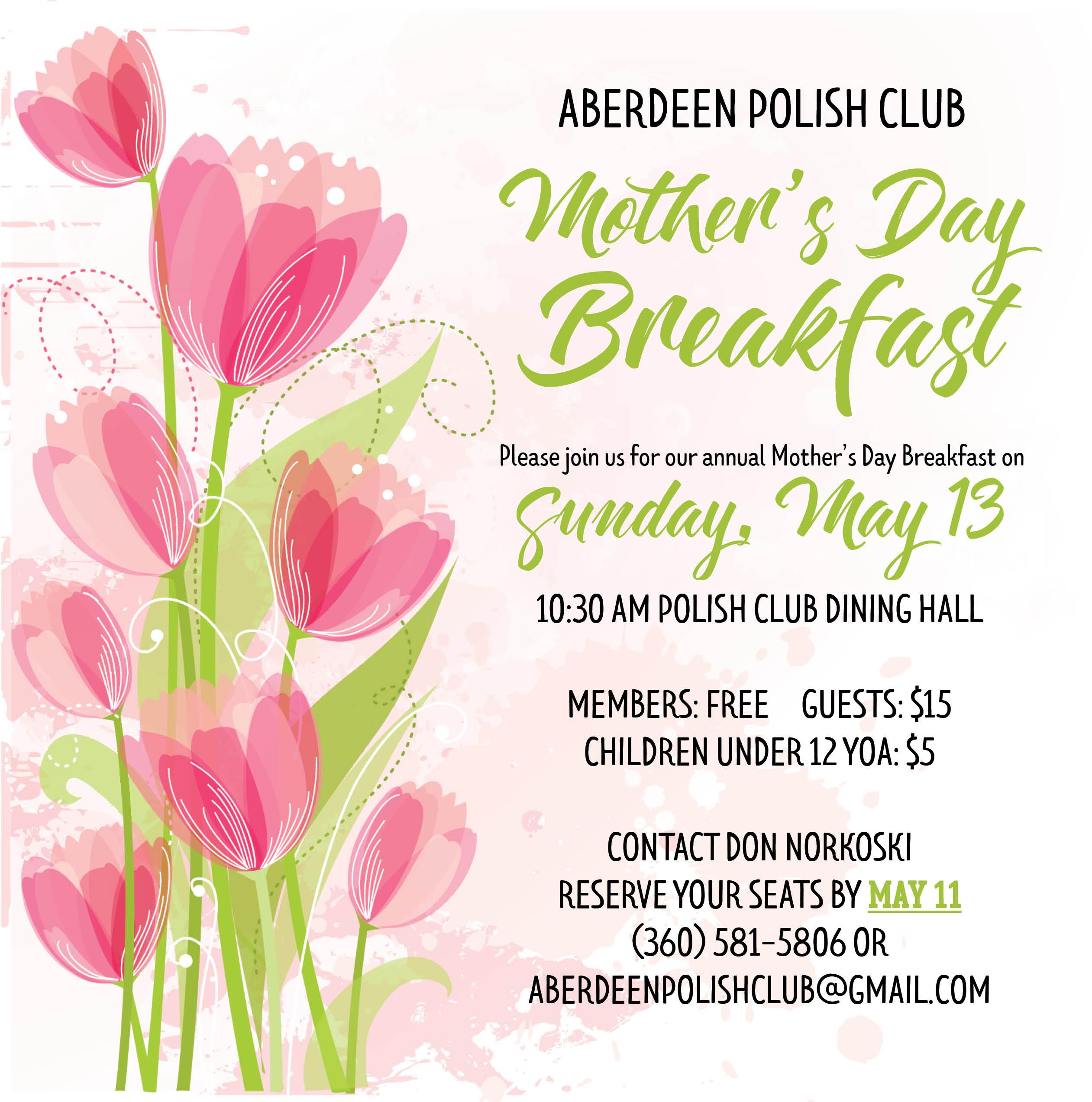 Mothers Day Breakfast 2018 Polish Club Aberdeen Wa